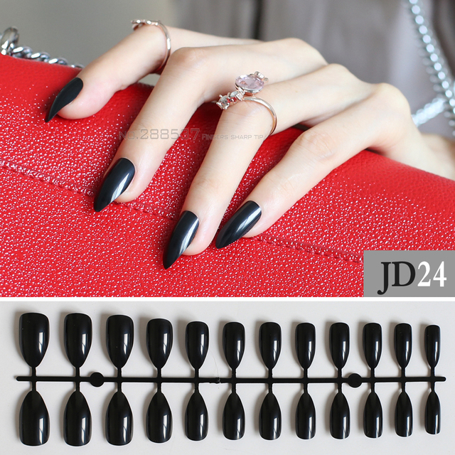 Black Full Nail Tips Comfortable Artificial Nails Pointed Stiletto