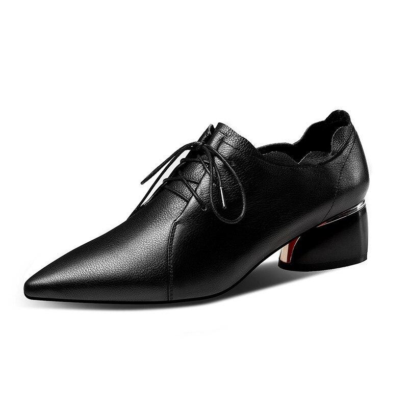 Volantes Negro Beige Beige Genuino Grueso Tacones negro Zapatos Casuales Encaje Oficina Primavera Fiesta Mujer Punta Bombas Cuero De Ymechic Medio z8RFSWnIF