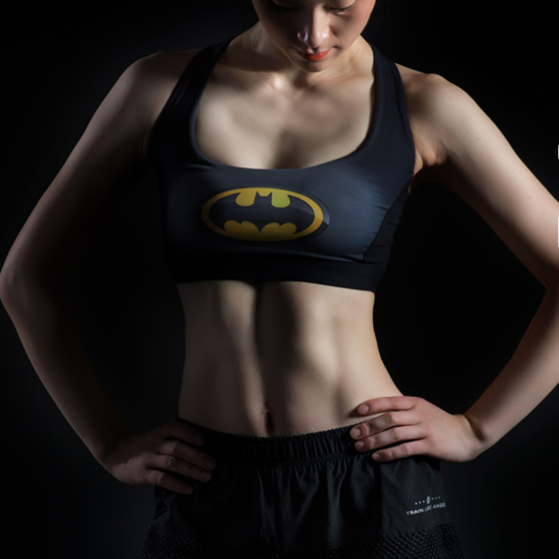 Female Fitness Yoga Bra Sports Bra Padded Batman Captain America Superhero Crop Top Tank Tops Sport Bra Top for sports