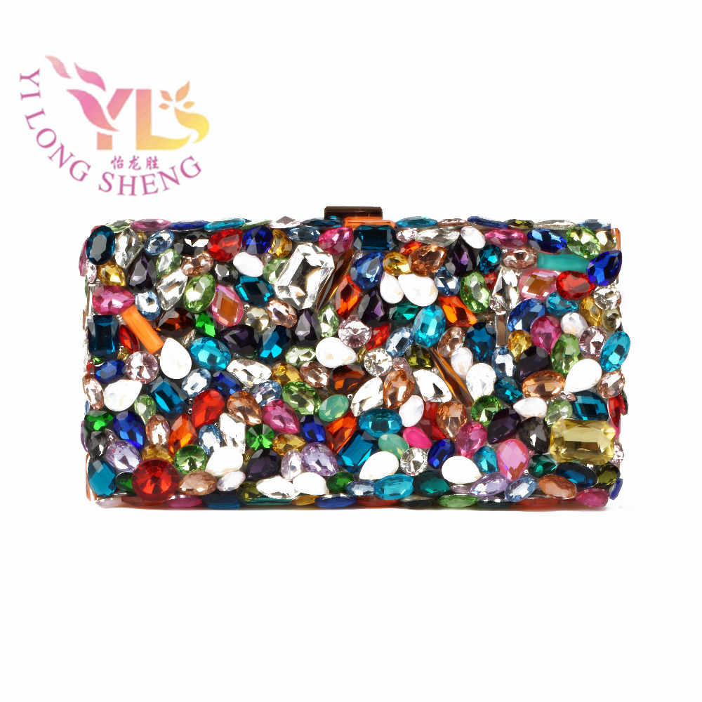 Square Evening Bags Hard Case Hot Beaded Multi Color Crystal Bag Design for Sexy Fashion Ladies YLS-G05