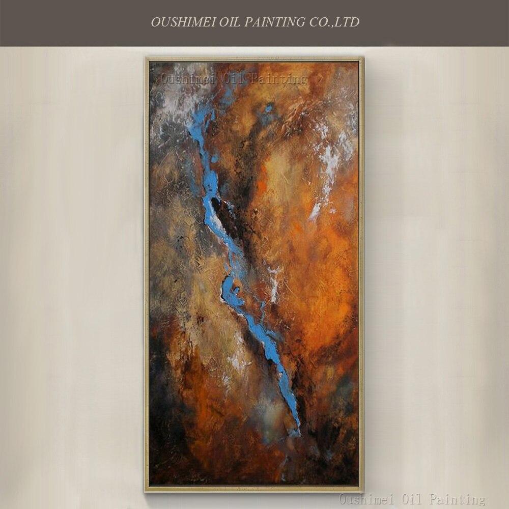 Топ художника чисто ручная роспись высокое качество Абстрактная живопись маслом на холсте навыки художника Ручной работы синий и коричнев
