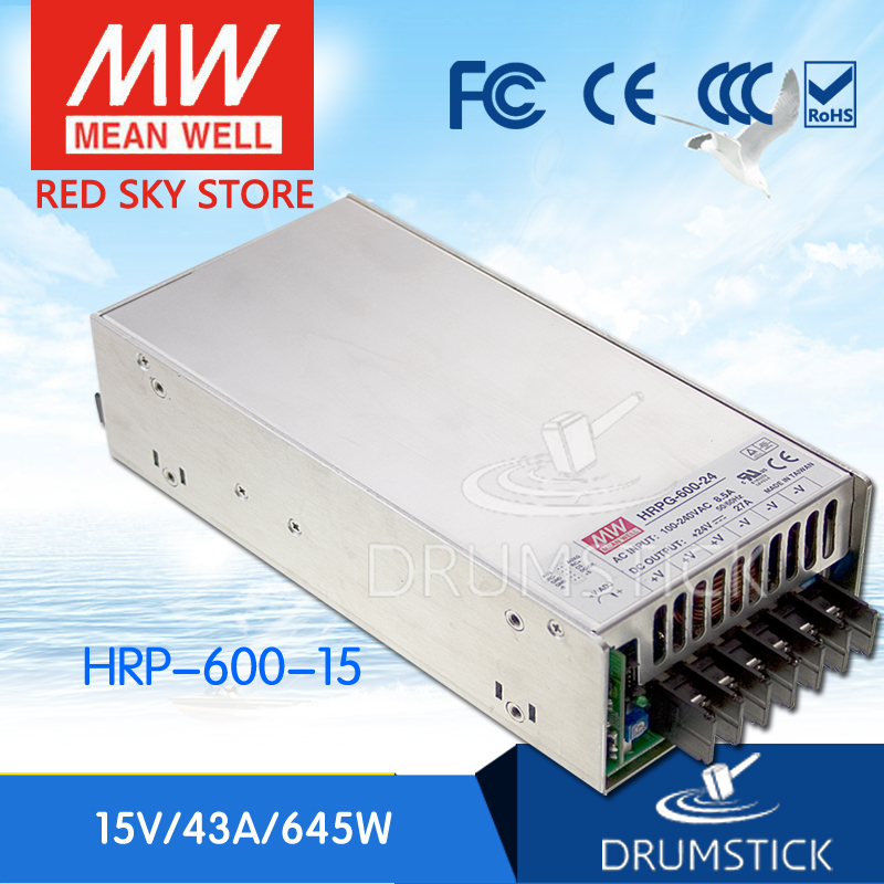 MEAN WELL HRP-600-15 15V 43A meanwell HRP-600 15V 645W Single Output with PFC Function Power Supply [mean well1] original epp 150 15 15v 6 7a meanwell epp 150 15v 100 5w single output with pfc function