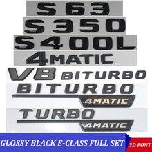 3D Nero W221 W222 Emblema S63 S350 S500 4MATIC Lettera S CLA Adesivi Per Auto Auto di Marchio del Distintivo Emblema Per mersedes Mercedes Benz AMG