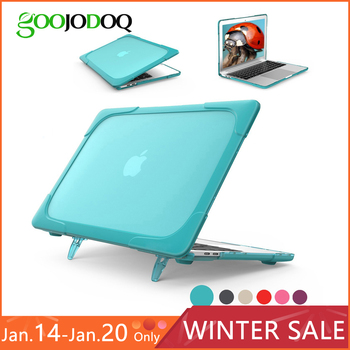 GOOJODOQ Laptop Case for MacBook Air 11 12 13 Pro 13 15 Retina 13.3 15.4 Case Shockproof Cover TPU + PC Bumper with Stand