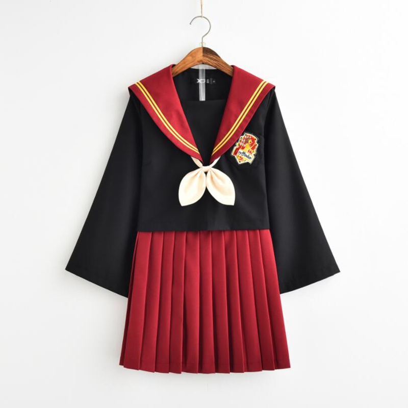 HP Gryffindor Girls Womens Cosplay Costumes Lolita Sailor JK Uniform Skirt Sets