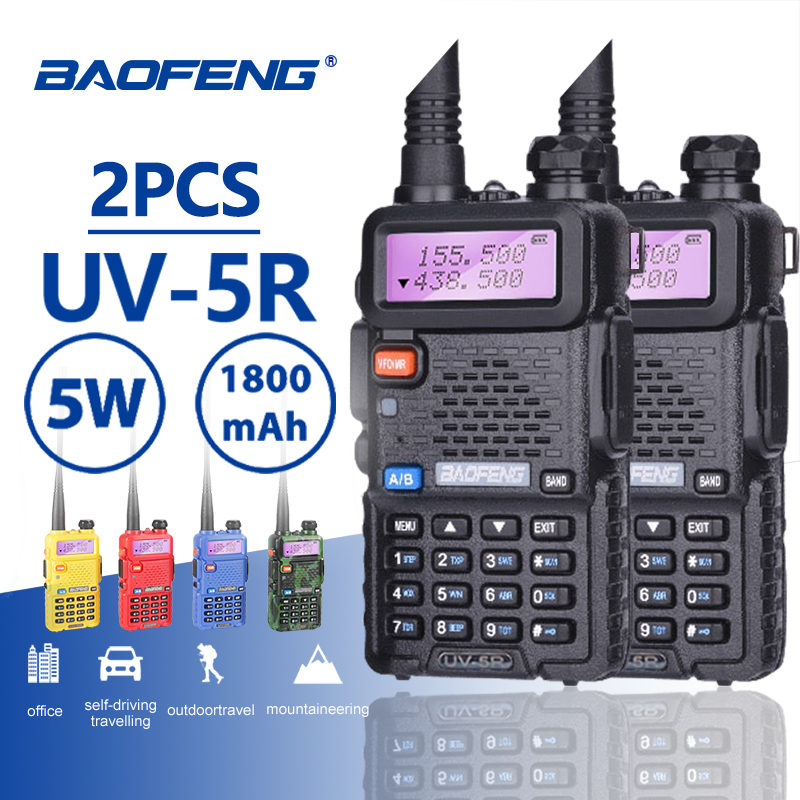 2PCS Baofeng UV 5R Hot Sale Walkie Talkie 5W Vhf Uhf Dual Band Portable Woki Toki UV5R Pofung CB Ham Radio Station Baofeng UV 5R