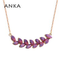 ANKA Fashion Feather Crystal Pendants Necklace Male Necklaces For Great Woman Jewelry Crystals from Austria #130797
