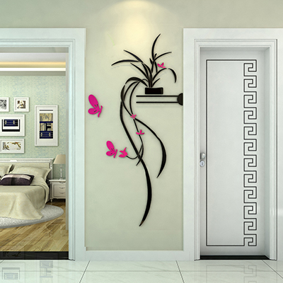 Acrylic 3 d wall stickers classic plant style of sitting room ...