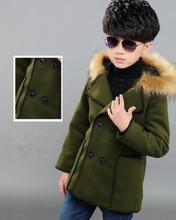 2016 winter children's clothes solid long sleeve thicken fur collar hooded baby boy woolen coats for boys kids outerwears