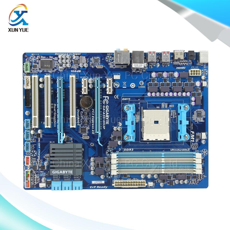 Gigabyte GA-A55-DS3P Original Used Desktop Motherboard AMD A75 Socket FM1  DDR3 SATA2 USB2.0 ATX  free shipping original motherboard for gigabyte ga a55 s3p socket fm1 ddr3 32gb a55 s3p all solid atx desktop motherboard