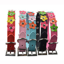 Neck Leather Collar / Dog Strap – Flowers design