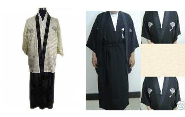Бесплатная Доставка Старинный Японских мужская Атласная Полиэстер Воин Кимоно Юката Хаори один размер B-0001a