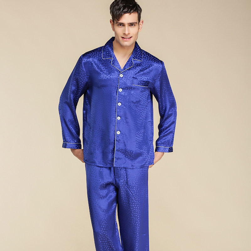CEARPION 2020 New Men Casual Home Clothes 100% Silk Pajamas Suit Elegant Male Long Sleeve 2pcs Shirt+pant  Daily Sleep Wear