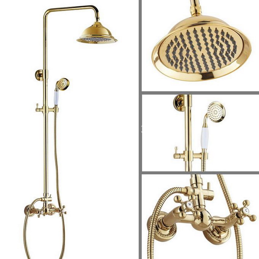 Two Cross Handles 8.2 Bath Rain Shower System with the Shower Head & Hand shower Set Faucet Mixer Tap Gold Color Brass agf333