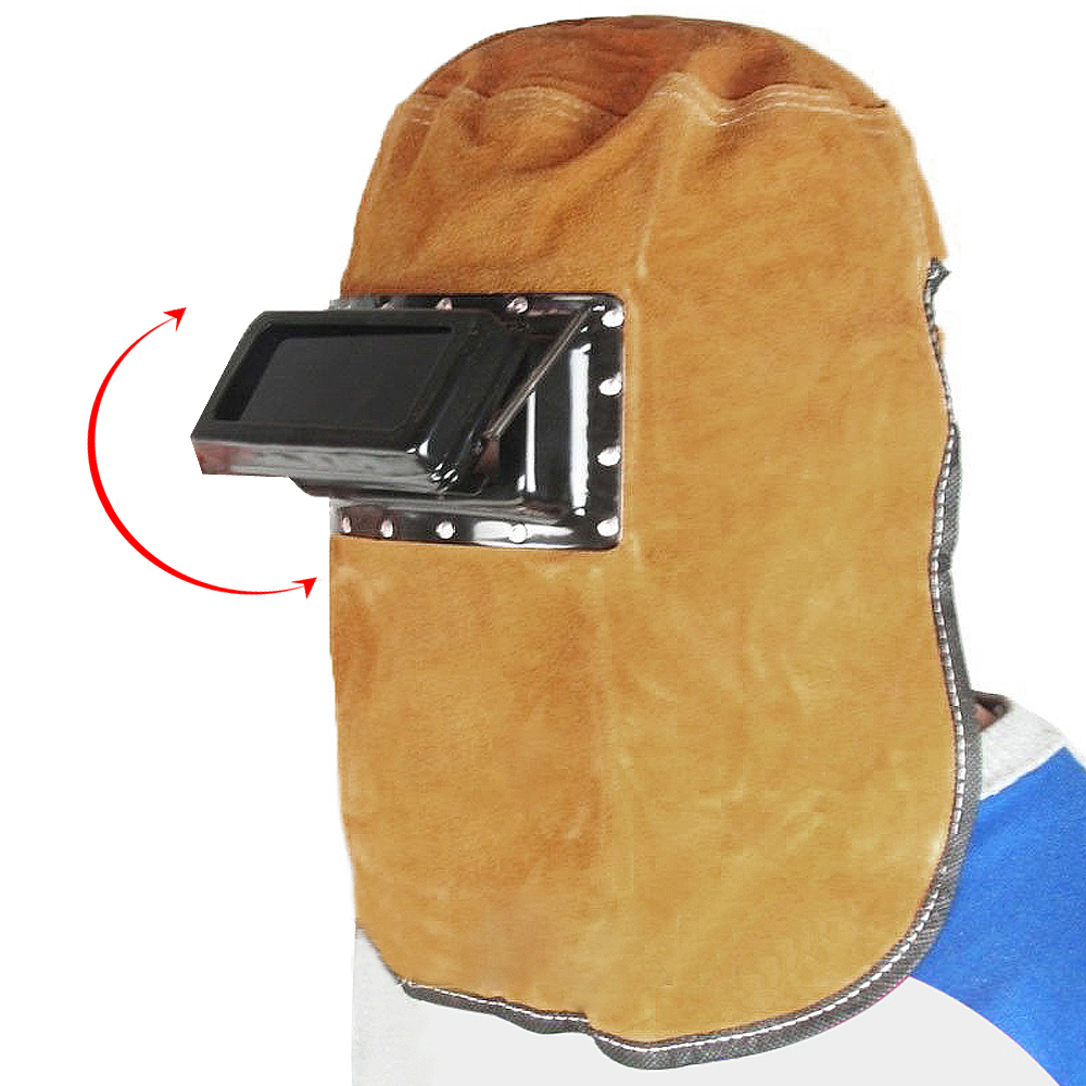 Comfortable Foldable Cow Leather Welding Helmet Welding Mask with Double Layer Goggles Visual Glass for Various Welding 100x50mm welding goggles welding tools with automatically dimming glasses welding caps hot red welding mask helmet dhcp 27