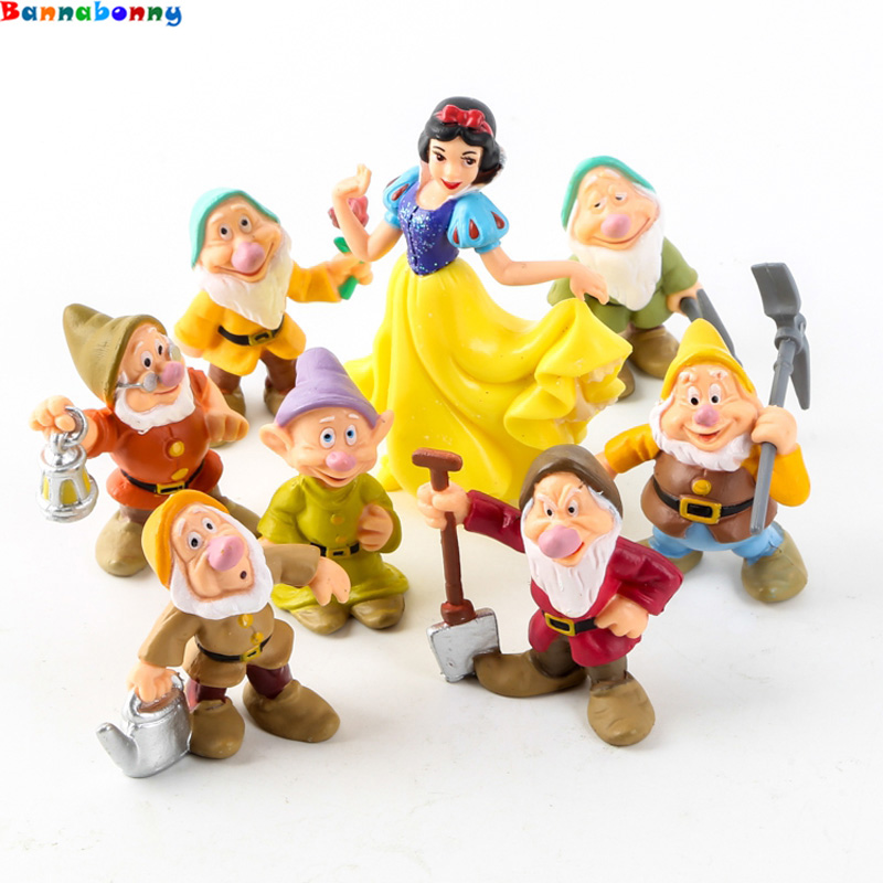 2019 Newest 8 PCS/Lot Princess Snow White And The Seven Dwarfs Figure Toy 5-10CM Mini Model Doll For Kids
