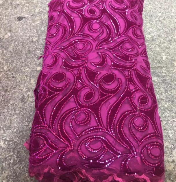 2018 chất lượng cao Pháp Nigeria sequins net ren, châu phi vải tuyn nhung lưới màu tím vải ren cho bên váy 5 yards/lô