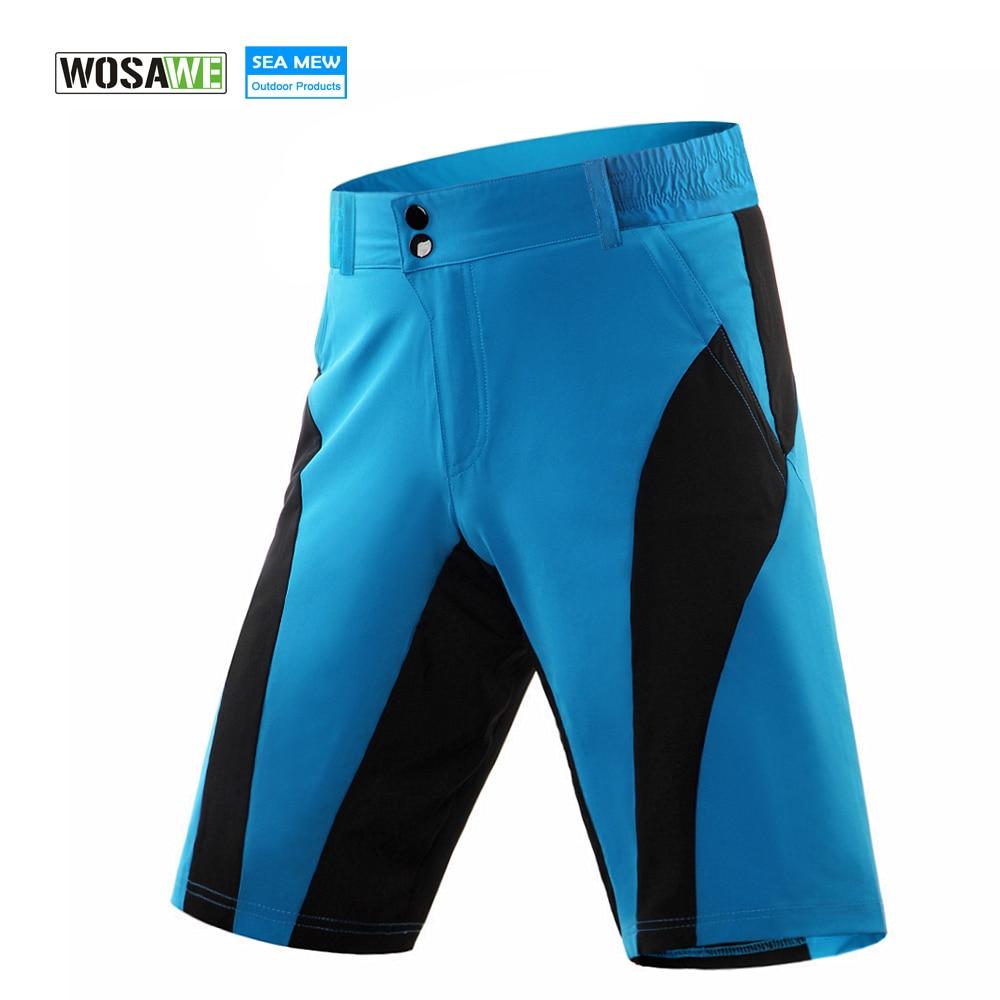 WOSAWE MTB Bike pantalones cortos de ciclismo Hombres mujeres Bicicleta bermuda ciclismo Cuesta abajo Impermeable Corto Anti-sudor Pantalones cortos de secado rápido