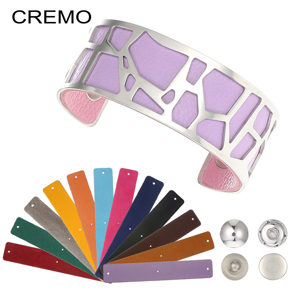 Cremo New Fashion DIY Stainless Steel Jewelry Arm Cuff Bracelets Manchette Interchangeable Reversible Leather Bangles PulseirasCremo New Fashion DIY Stainless Steel Jewelry Arm Cuff Bracelets Manchette Interchangeable Reversible Leather Bangles Pulseiras