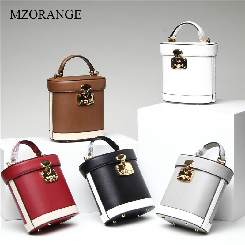 MZORANGE 2018 Genuine Leather Vintage Bucket Bags Women Fashion Panelled Medicine Crossbody Bags Mini Lady Lock Shoulder BagsMZORANGE 2018 Genuine Leather Vintage Bucket Bags Women Fashion Panelled Medicine Crossbody Bags Mini Lady Lock Shoulder Bags