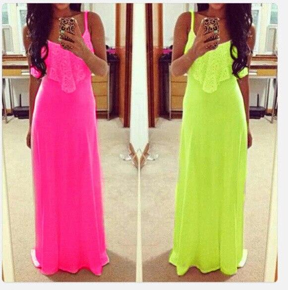 Mujeres Nuevo sexy color fluorescente Correa Encaje chaleco sin mangas  vestido de la manera vestido largo 4ba705f2a31c