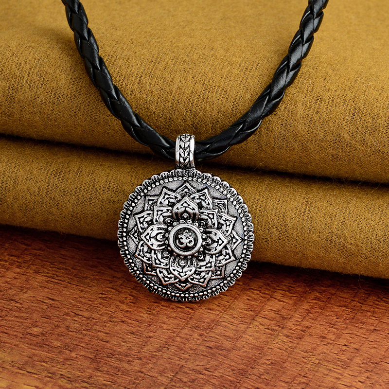Flower of Life Necklace Yoga Chakra Mandala Pendant Necklace Ancient silver Zen Buddha Buddhism Amulet Religious Jewelry Gift 3