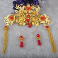 Chinese Traditional Classical Wedding Jewelry Bridal Hair Accessories Coronet Combs and Earrings