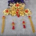 Chino tradicional clásica joyería de la boda accesorios nupciales del pelo corona peines y pendientes