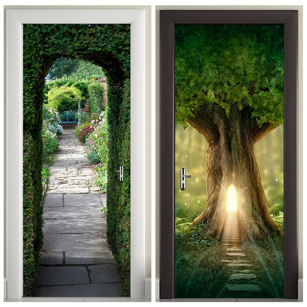 3D Wooden Doors Sticker Tree Hole, Light, Green Arch Wall Decal Self Adhesive Vinyl Removable Mural Poster Door Wallpaper
