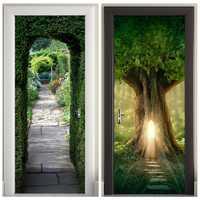 3D Wooden Doors Sticker Tree hole, light, green arch Wall Decal Self Adhesive Vinyl Removable Mural Poster Door Wallpaper