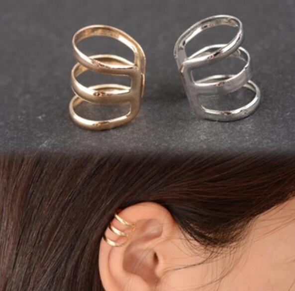 Ea593 1 pcs Gothic punk estilo Vintage geometria oco U-em forma de osso do ouvido clipe de brincos invisíveis brincos sem orelhas furadas gif aniversário