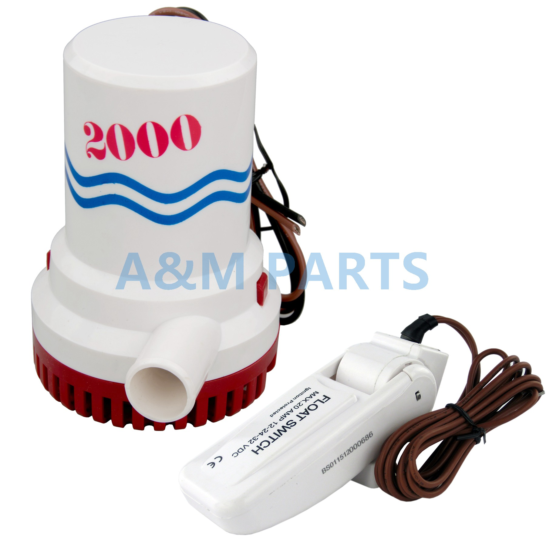 12V 2000GPH Boat Bilge Pump Marine Submersible Water Pump W Automatic Switch