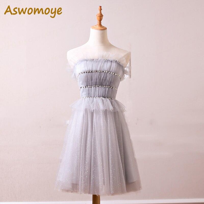 Aswomoye Elegant   Bridesmaid     Dress   2018 Stylish Beaded Wedding Party Guest   Dress   Glitter Off Shoulder Back Lace Up robe de soiree