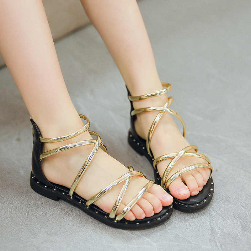 9fcd740a9 ... Gladiator Style Kids Gladiator Sandals Roman Girls Summer Shoes  Cross-Strap Princess Sandals Teenagers Flock ...