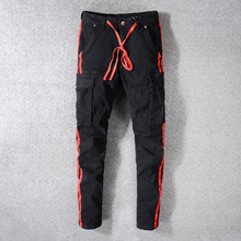 American Streetwear Men Jeans Black Big Pocket Denim Cargo Pants Drawstring Red Stripe Printed Jeans Slim Fit Hip Hop Jeans Men цена 2017