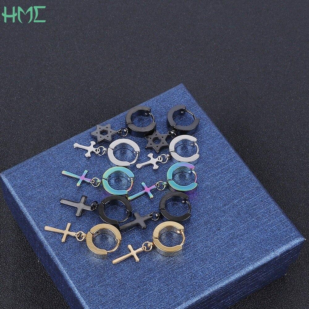 Серьги-кисточки для мужчин и женщин, украшение для пирсинга хрящевой ткани в стиле панк-рок, с подвеской в виде креста и звезд, 1 шт.