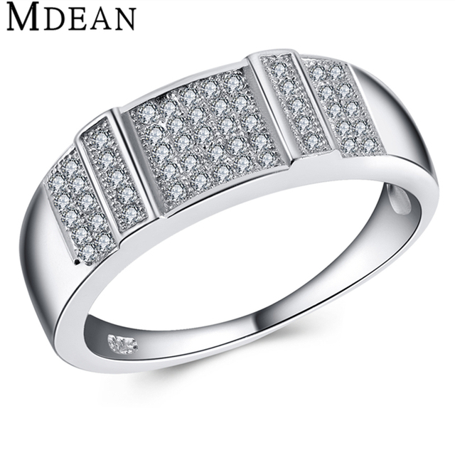 Trendy Pure Solid Wedding Bands Genuine Round 925 Sterling Silver 4.6 Gram CZ Diamond Jewelry Engagement Rings For Women MSR442