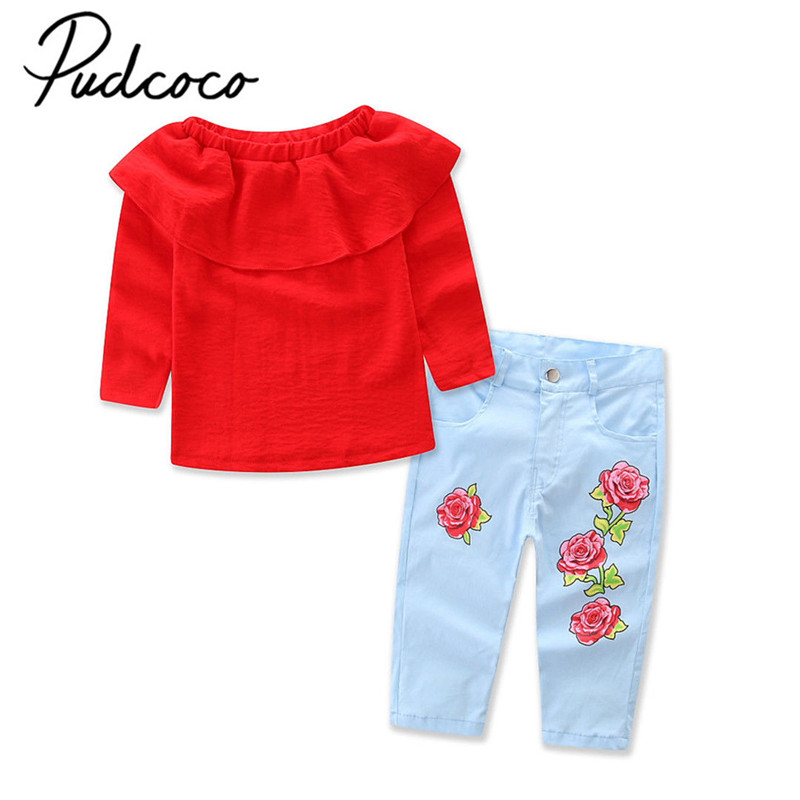 2017 Brand New Toddler Infant Child Kids Baby Girl Off Shoulder  T-Shirt Tops Denim Jeans Pants Clothes Autumn Outfit 2pcs Sets new afs jeep brand autumn and winter man jeans men pants straight cotton male denim brand jeans more pocket overalls