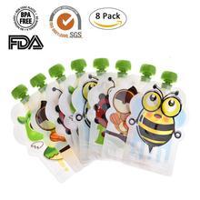8 шт мультфильм пакет для хранения грудного молока BPA-Free многоразовые герметичные дополнительные продукты мешок хранения 148 мл двойная молния