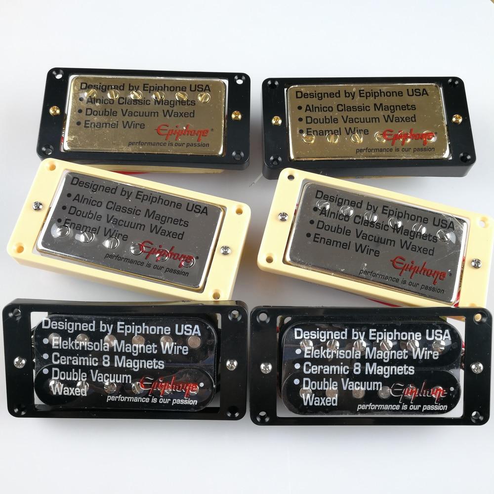1 Set Original Genuine Epi LP Standard SG Electric Guitar Alnico Bar Humbucker Pickups Nickel Silver Gold Black MADE IN KOREA