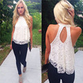 2017 Hot Women Summer Lace Floral Sleeveless Shirt Halterneck Backless Loose Vest Tank Tops Solid Casual Tank Top Shirt Camisole