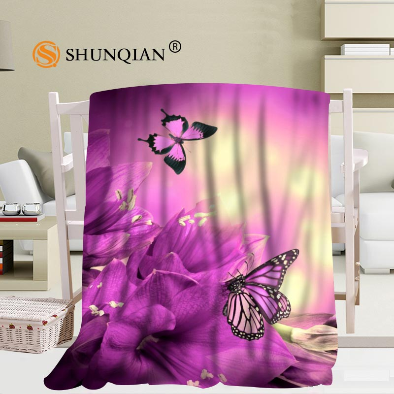 Custom Butterfly Flowers Tulip Blanket Soft Fleece DIY Your Picture Decoration Bedroom Size 58x80Inch,50X60Inch,40X50Inch A7.10