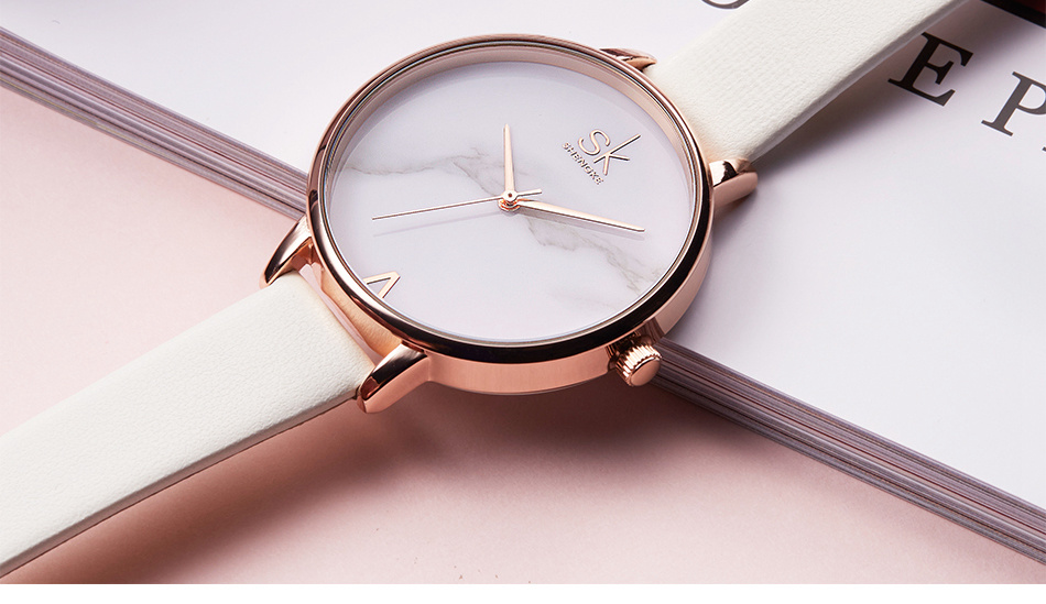 Shengke Top Brand Fashion Ladies Watches Leather Female Quartz Watch Women Thin Casual Strap Watch Reloj Mujer Marble Dial SK 38