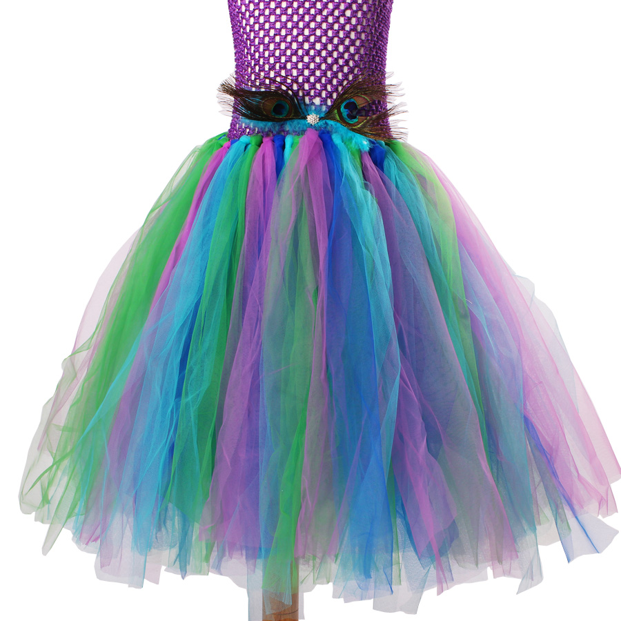 Peacock Flower Girl Tutu Dress Turquoise and Purple Tulle Wedding Dress Kids Purim Party Ball Gown Elegant Princess Prom Dress (6)