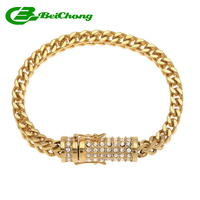 Beichong Men Stainless Steel Gold Bracelet Iced Out Miami Cuban Link Bracelet Bling Hip Hop Jewelry