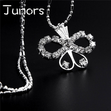 JUNORS New Arrival Multiple Butterfly Necklaces Pendants Silver Gold Chain For women Classic Crystal Butterfly For