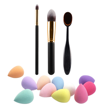 2 Pcs Professioanl Eyes Makeup Brushes + Powder Blush Foundation Brush + Sponge Puff Combination For Face Beauty FE#8
