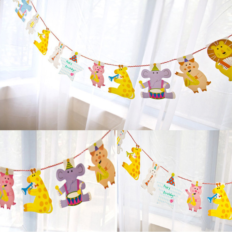Jungle Animal Pig Pennant Flags Kids Children Birthday Party Decoration Baby Shower Boy Garlands Photo Booth Candy Bar Decor