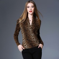 Leopard Printed Blouse Women Basic Clothing Sexy Style Criss Cross V Neck Long Sleeves Casual Shirt New Fashion Style 2018