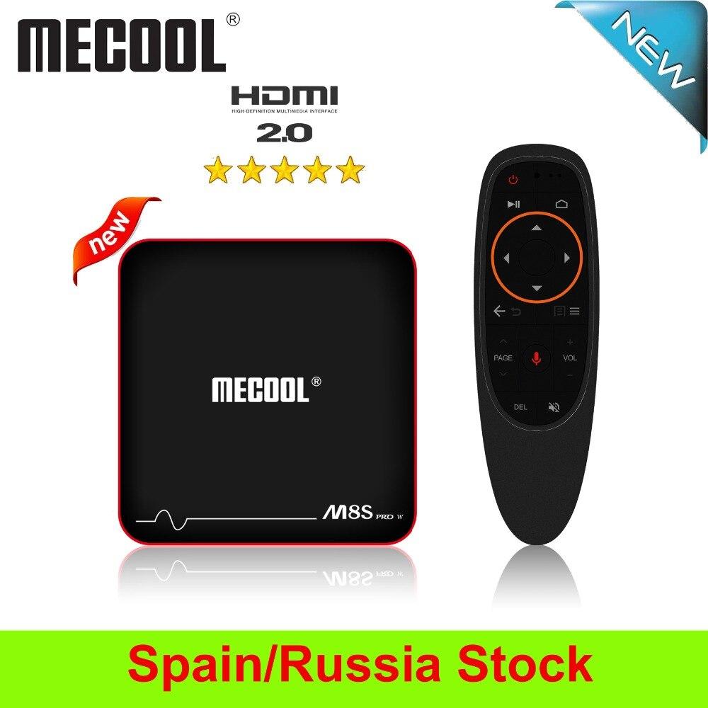 2019 mecool m8s pro w caixa de tv inteligente android 7.1 amlogic s905w 2 gb ddr3 16g rom iptv 4 k 2.4g wifi prefixo caixa de tv navio de es/ru